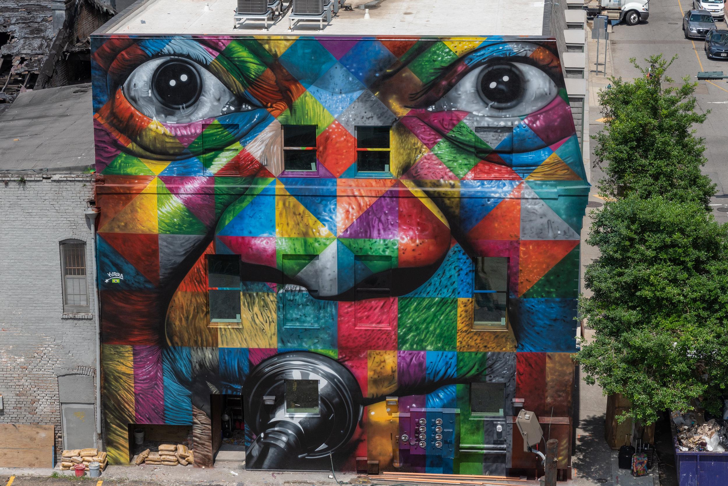 "Eduardo Kobra's ""Satchmo"" mural at The Rampart Hotel"