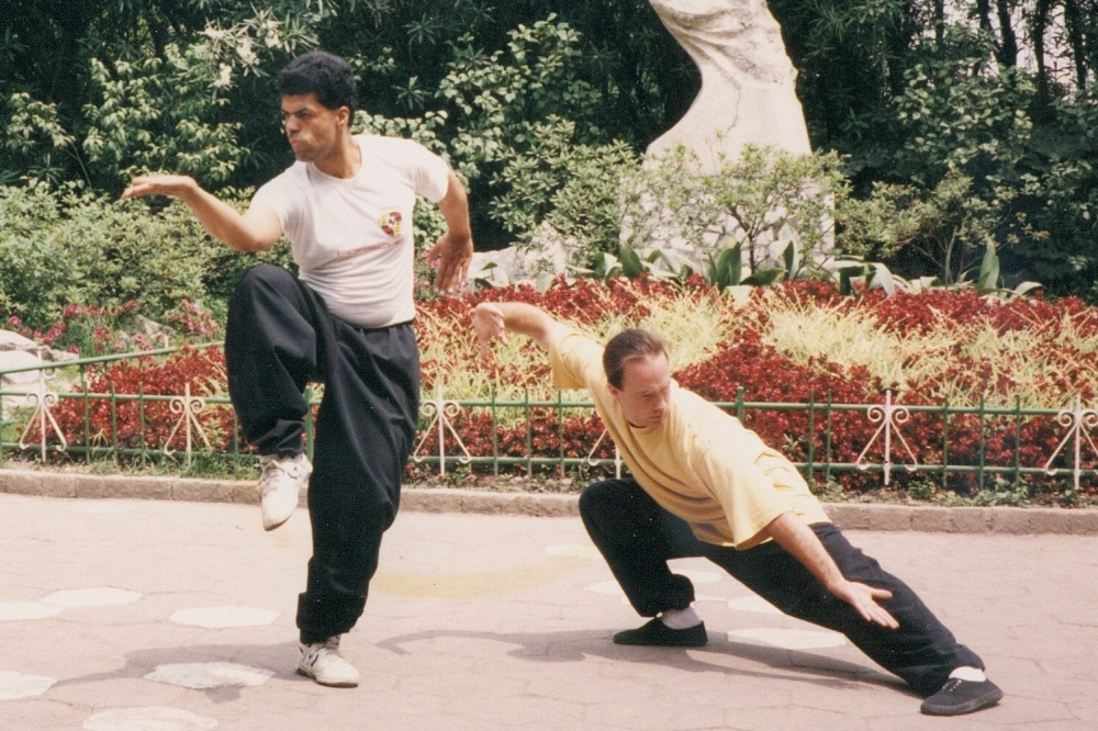 Master Ramos practicing Bagua Zhang in Shanghai, China with Kung Fu brother George harris