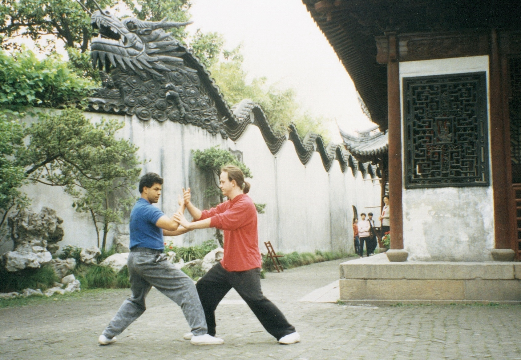 Paul Ramos and George Harris pushing in Shanghai, China