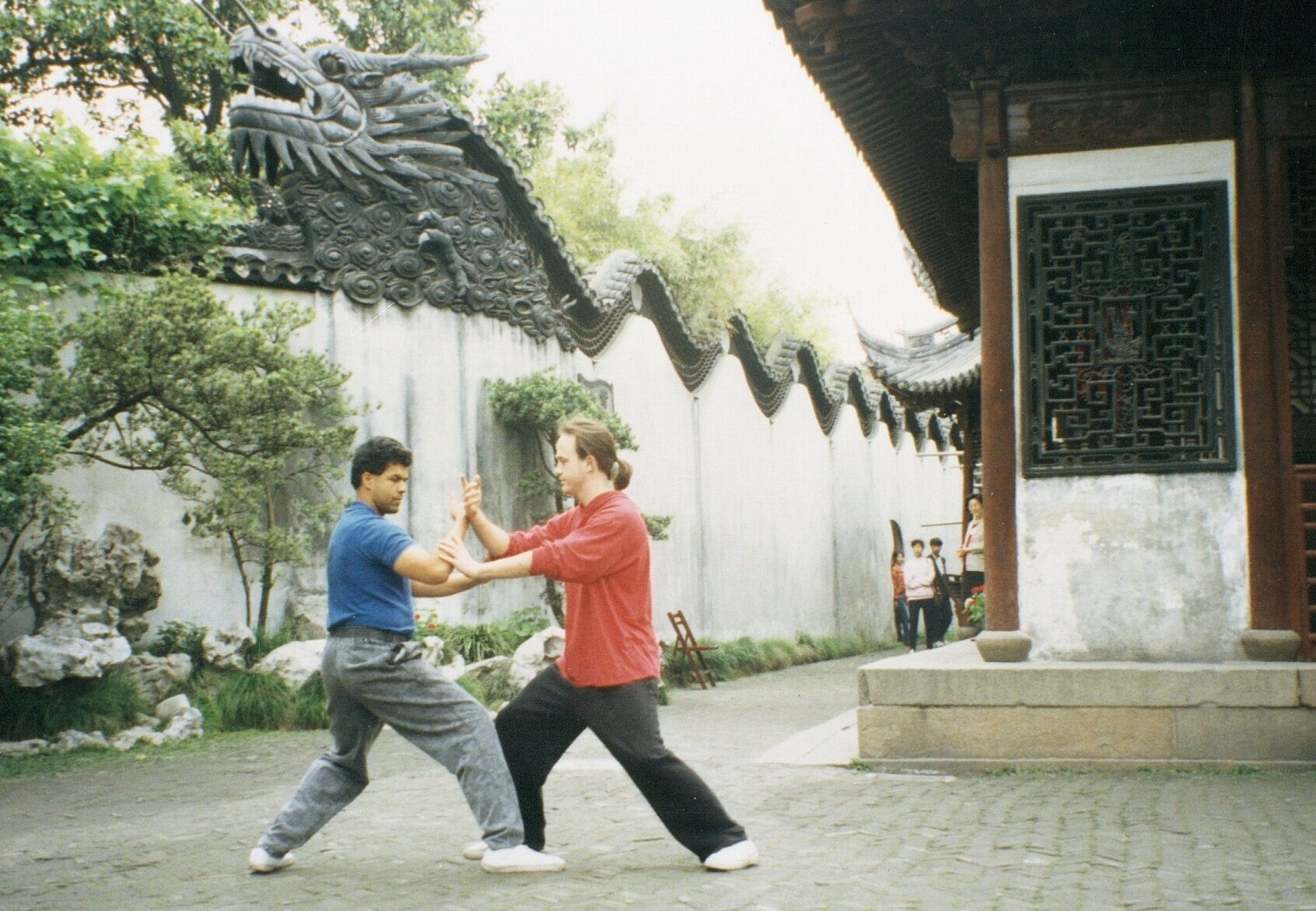 Paul and George Harris Pushing Hands in Shanghai, China 1993