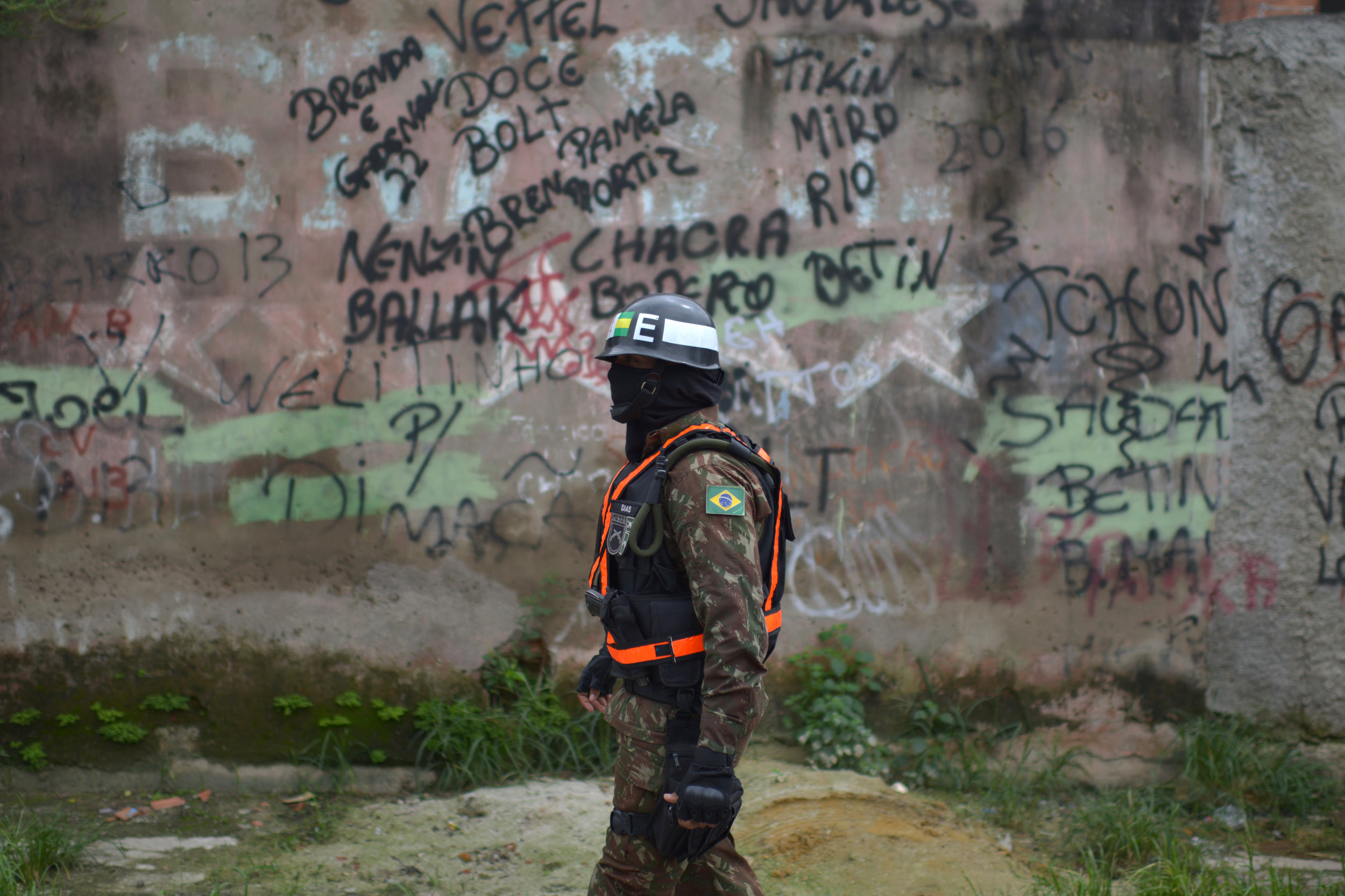 March, 17, 2018. 10:30am. A soldier at Vila Kennedy, Rio de Janeiro. Last month, Marielle was named rapporteur of a special commission established by the city council to monitor military intervention in Rio de Janeiro's public security.