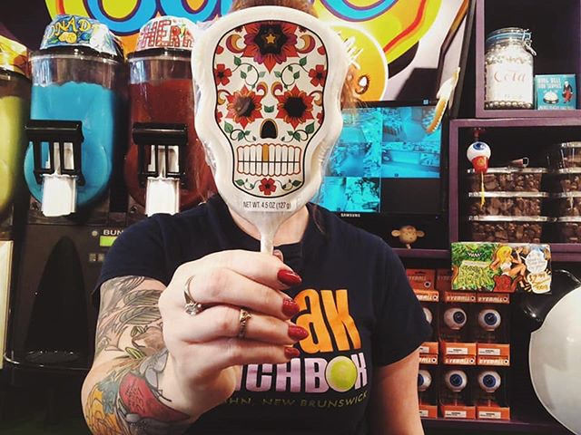 Say cheeeeese.  With our Day of the Dead pops 💀 🍭 *All locations ° ° #dayofthedead #candy #candystore #lollipop #sucker #freaklunchbox