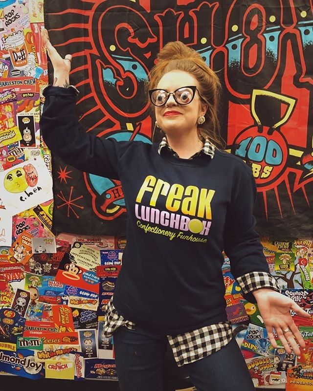 Embodying more Halloween in our new comfy crewneck sweatshirts. 🎃😳 *Variety of colours $40 each. Modelled by FLB babe @mishelleleigh ° ° ° #freaklunchbox #candystore #repping