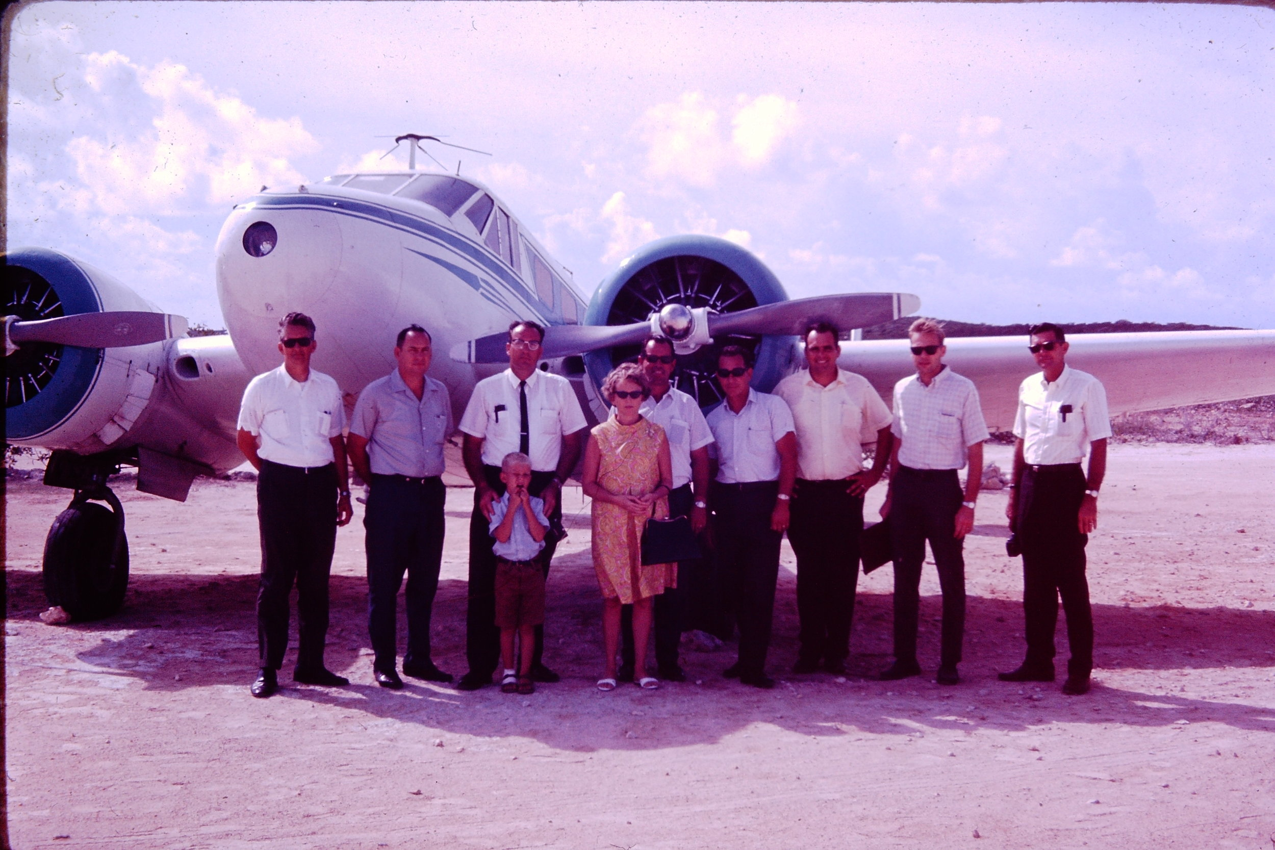 Mission personnel flown in an MFI plane in 1968.