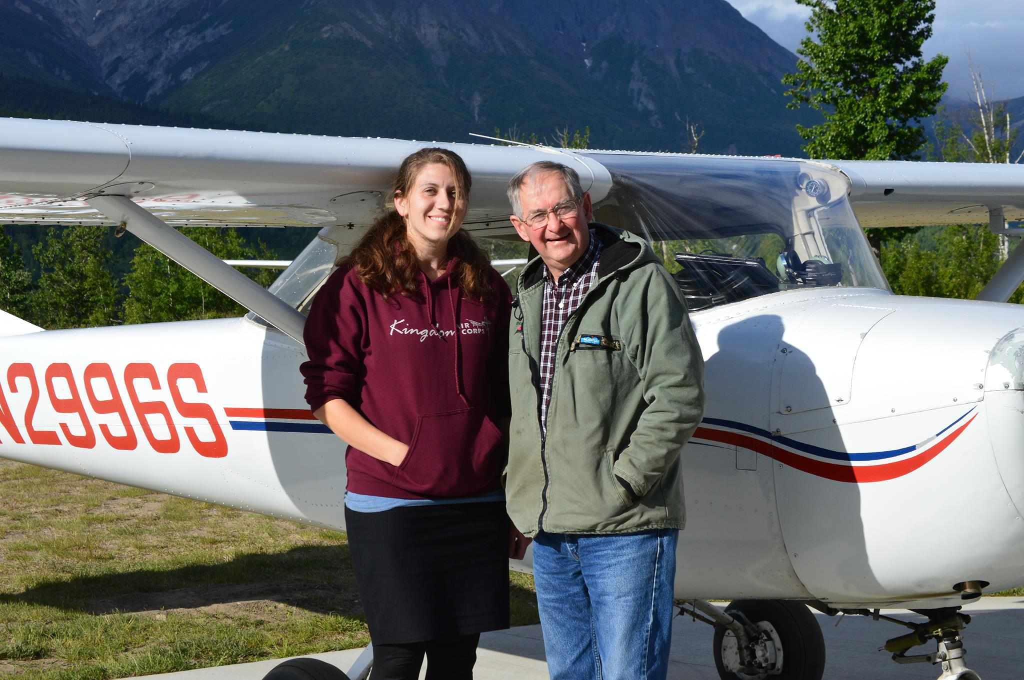 Dwayne with a student pilot after her first solo. Flight training is major aspect of the KAC ministry.