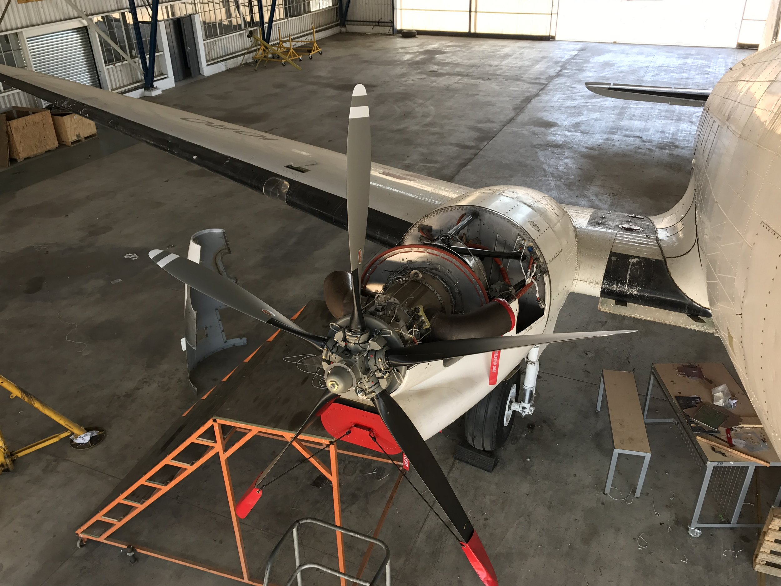 Nearly compete in a hangar in South Africa.