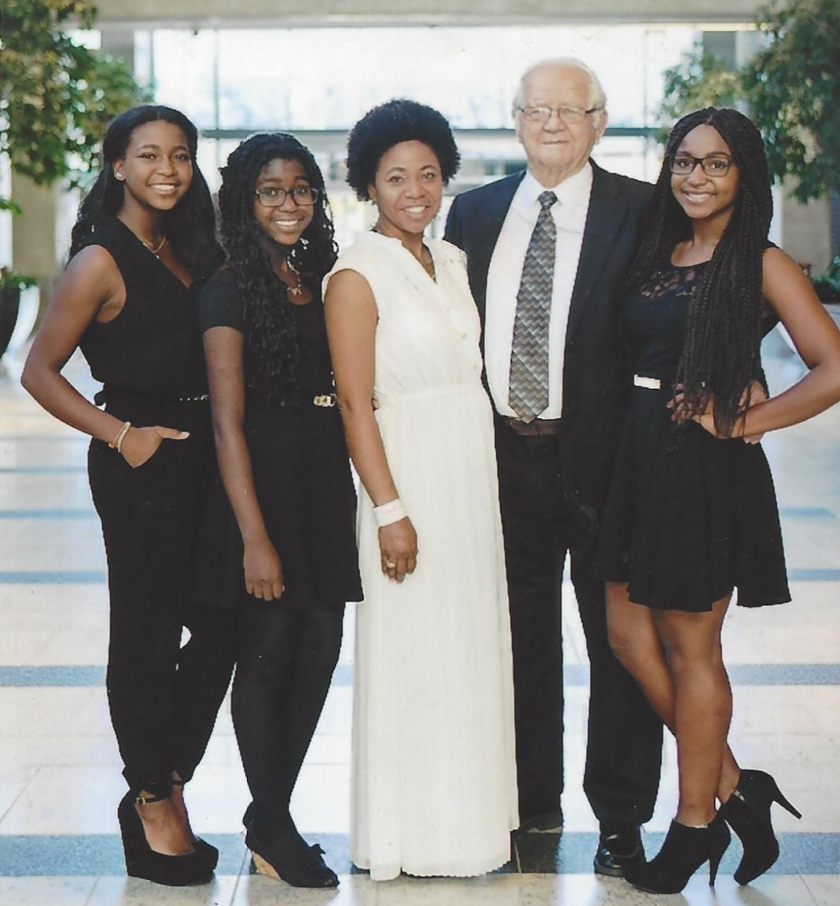 Burnell with his new wife and step-daughters.