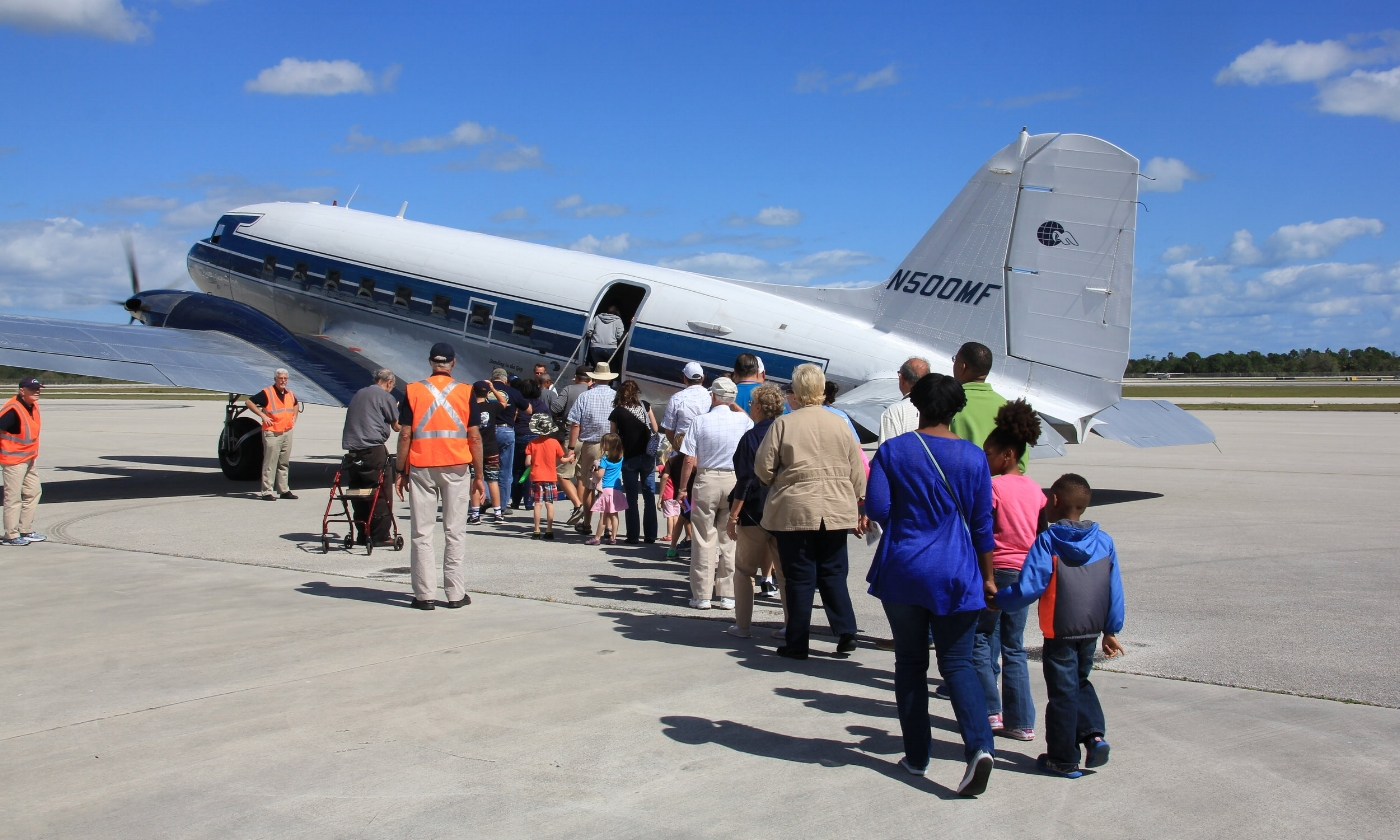 Free tours are offered of our DC3s during the Stuart Air Show, as well as tours and events held at the Missionary Flights hangar in Fort Pierce, FL.