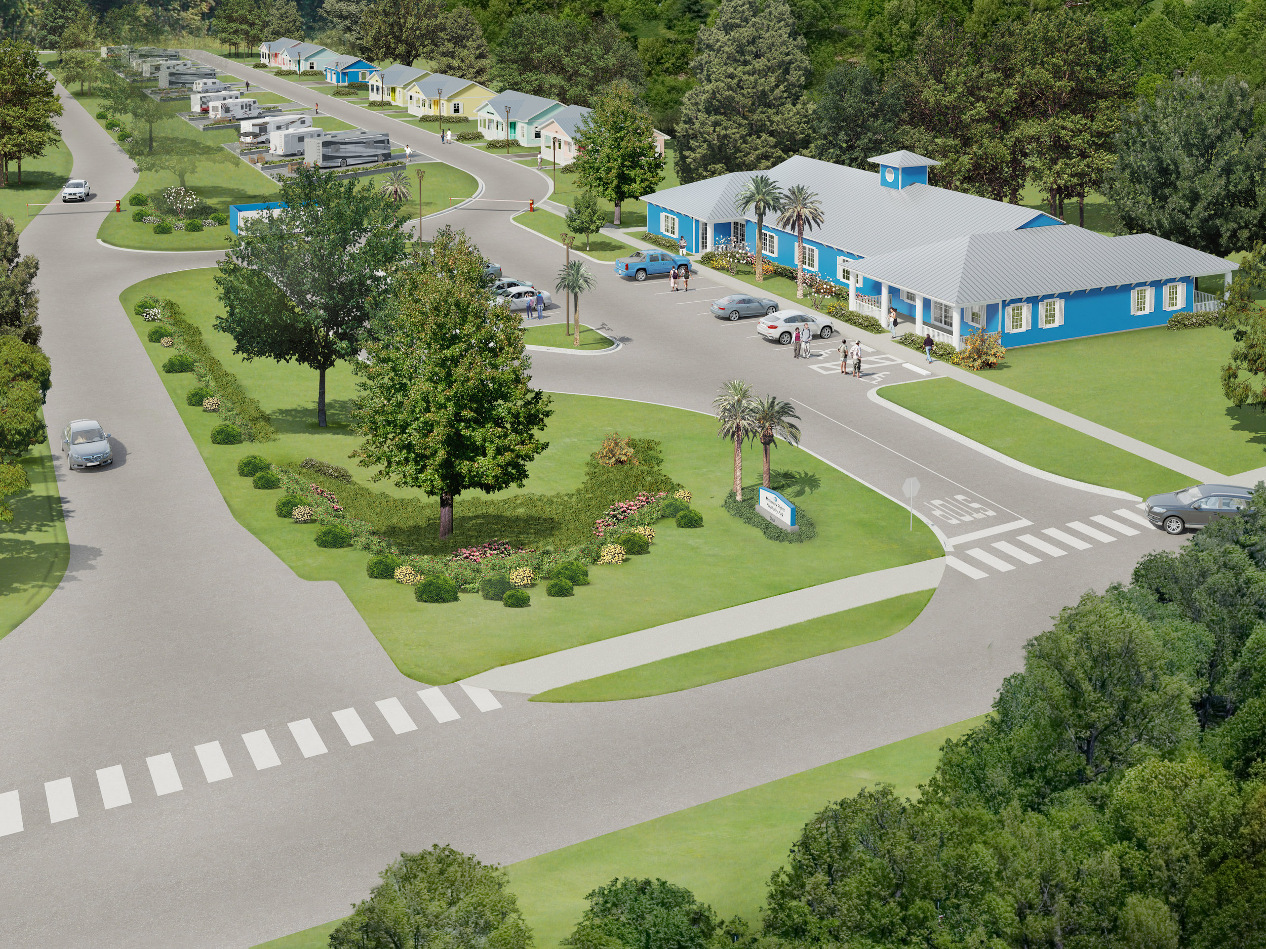 An artistic rendering of the Hospitality Park at Missionary Flights.