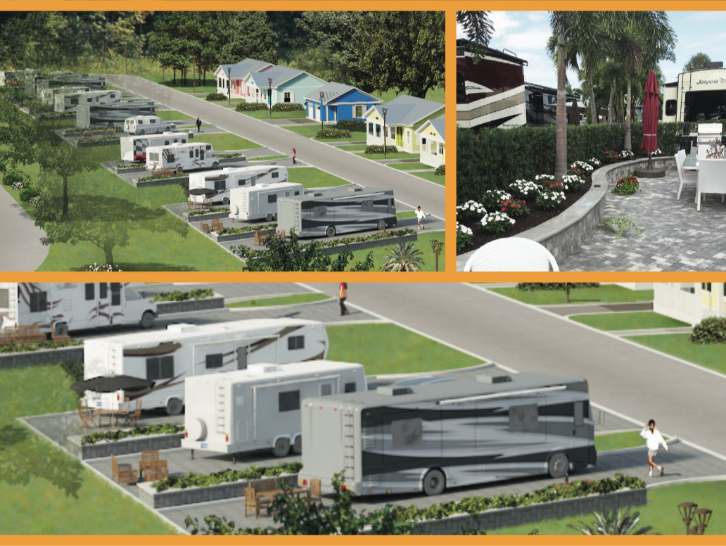 Artistic Rendition and photographic example of the 12 Deluxe RV Lots