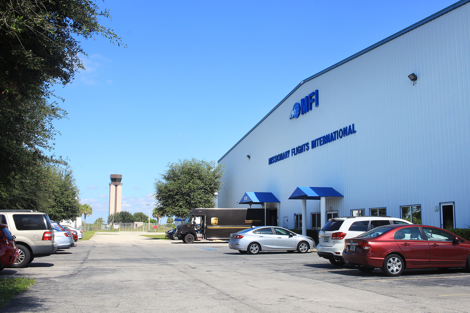 The front of MFI's Main Hangar in Fort Pierce, FL.