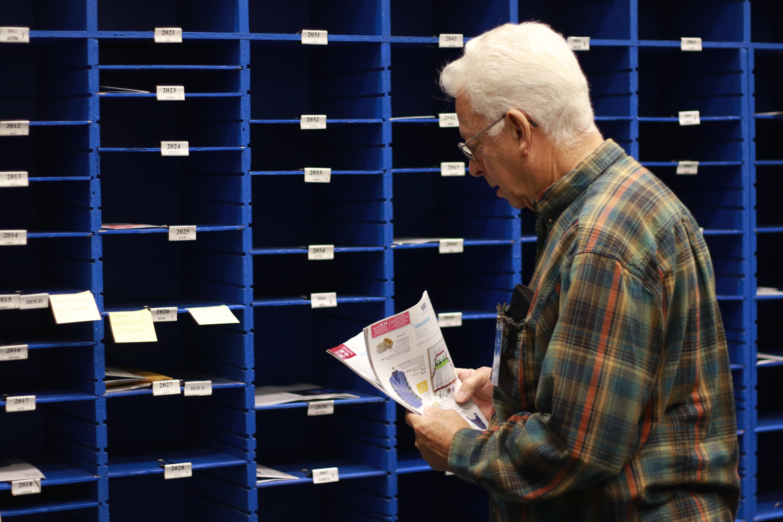 Ted is fondly remembered to hum the tunes of various hymns while sorting mail in the MFI mailroom.