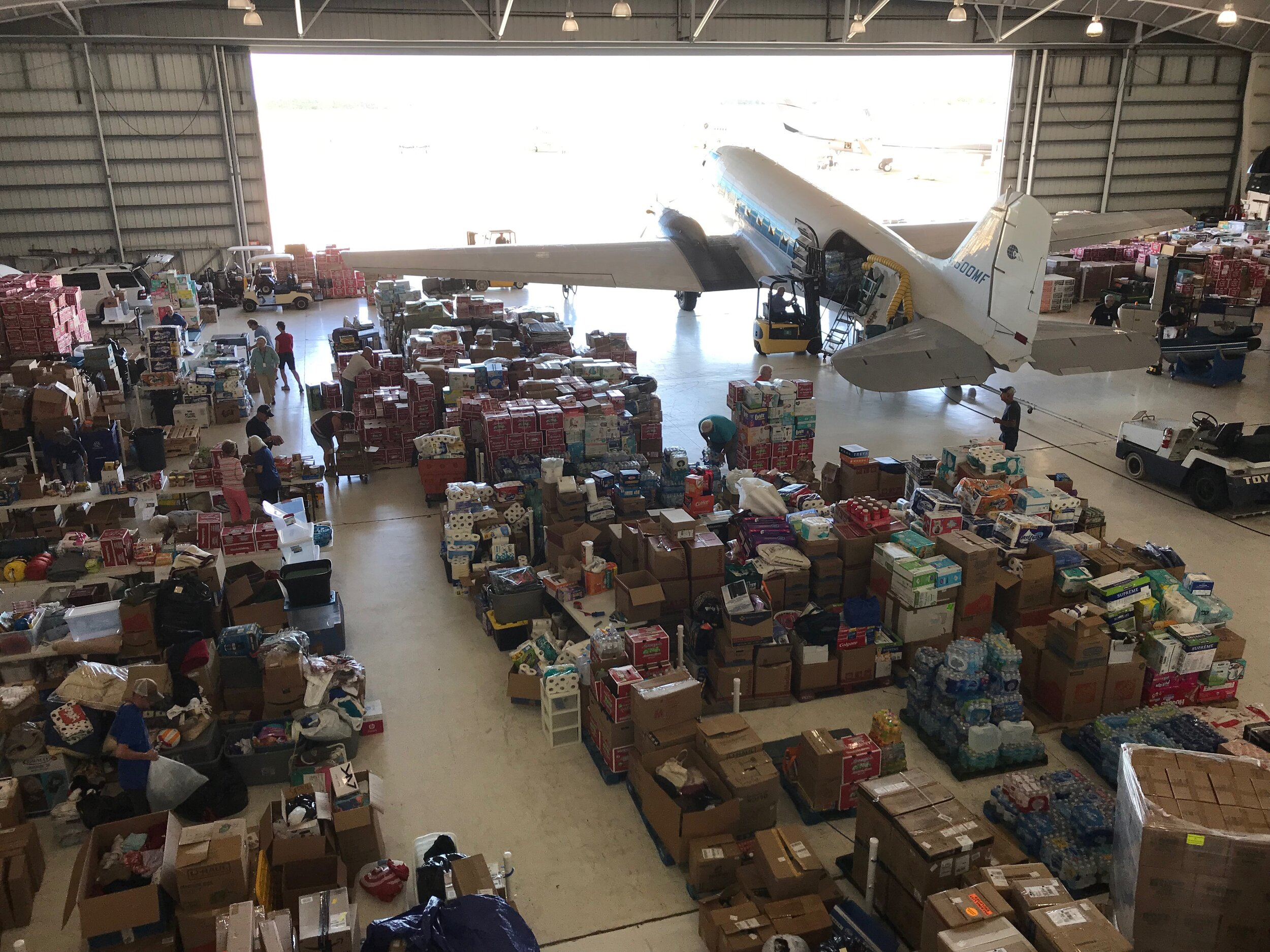 The Missionary Flights hangar in Fort Pierce, FL, took in over 300,000 pounds of supplies in two weeks.