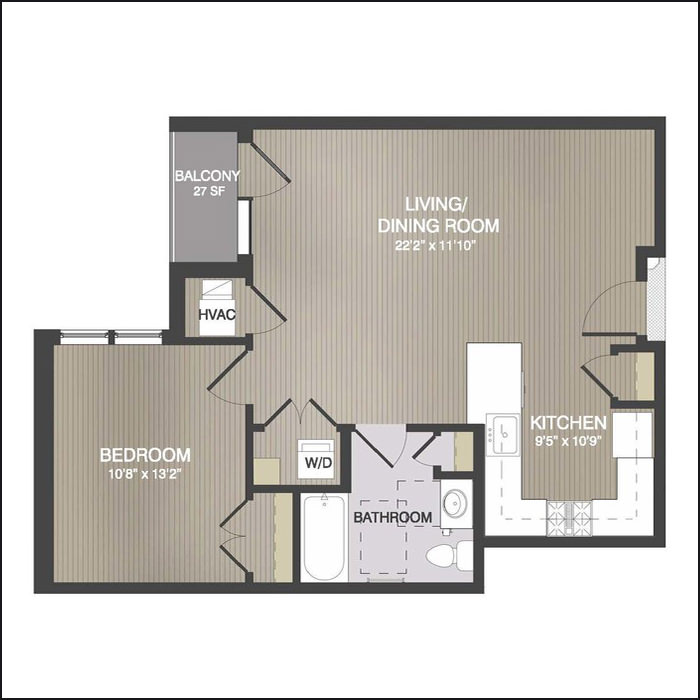 TYPE B - 748 Sq. Ft.27 Sq. Ft. Balcony1 Bedroom, 1 BathroomStarting at $2,050/month
