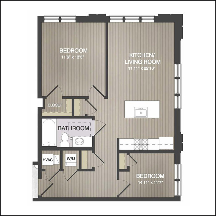 TYPE C - 827 Sq. Ft.2 Bedrooms, 1 BathroomStarting at $2,150/month
