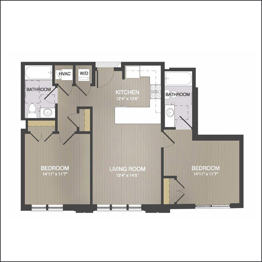 TYPE D - 911 Sq. Ft.2 Bedrooms, 2 BathroomsStarting at $2,530/month