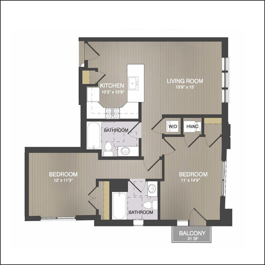 TYPE E - 964 Sq. Ft.21 Sq. Ft. Balcony2 Bedrooms, 2 BathroomsStarting at $2,650/month