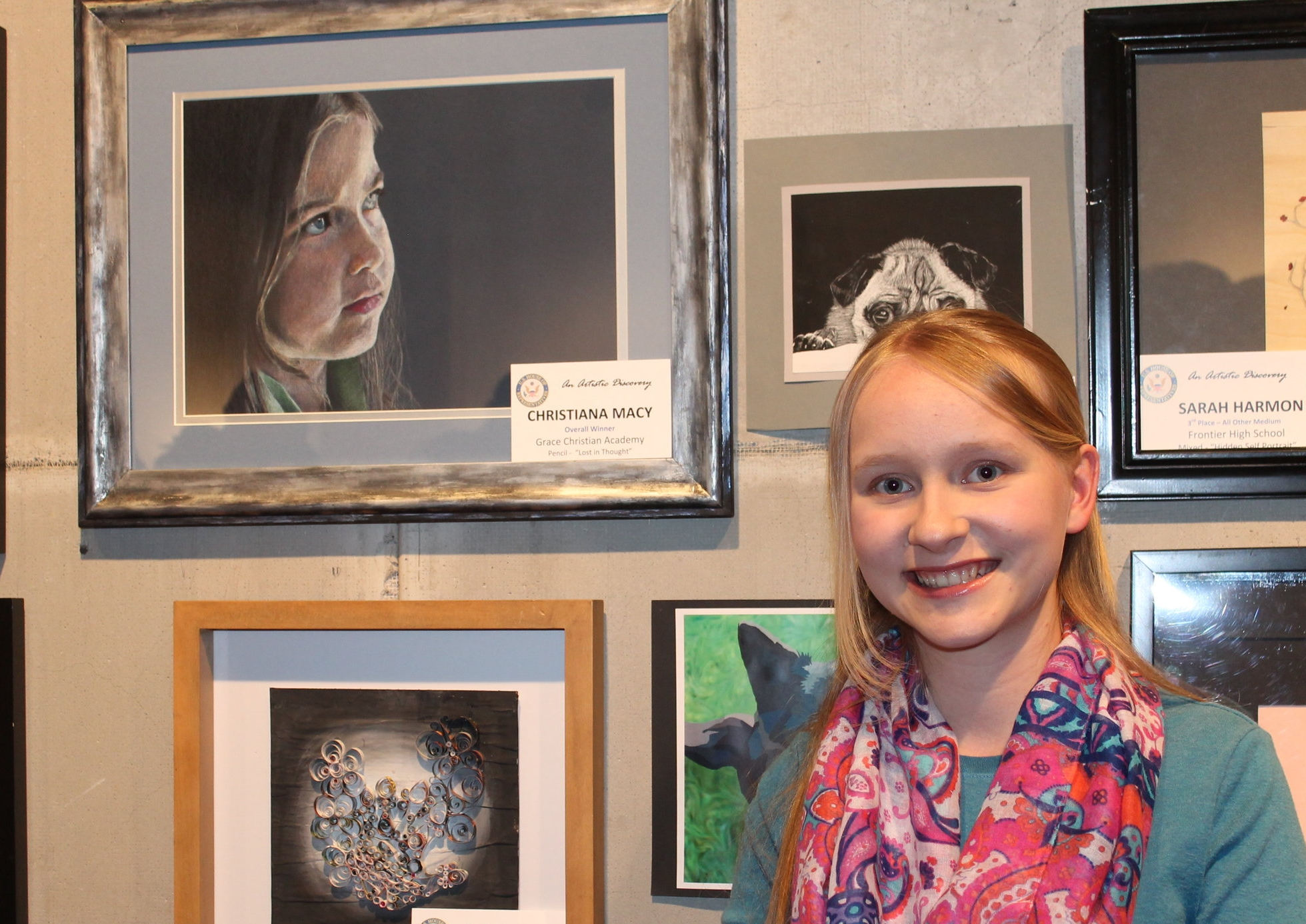 Christiana won the Congressional Art Contest with her colored pencil drawing Lost in Thought.