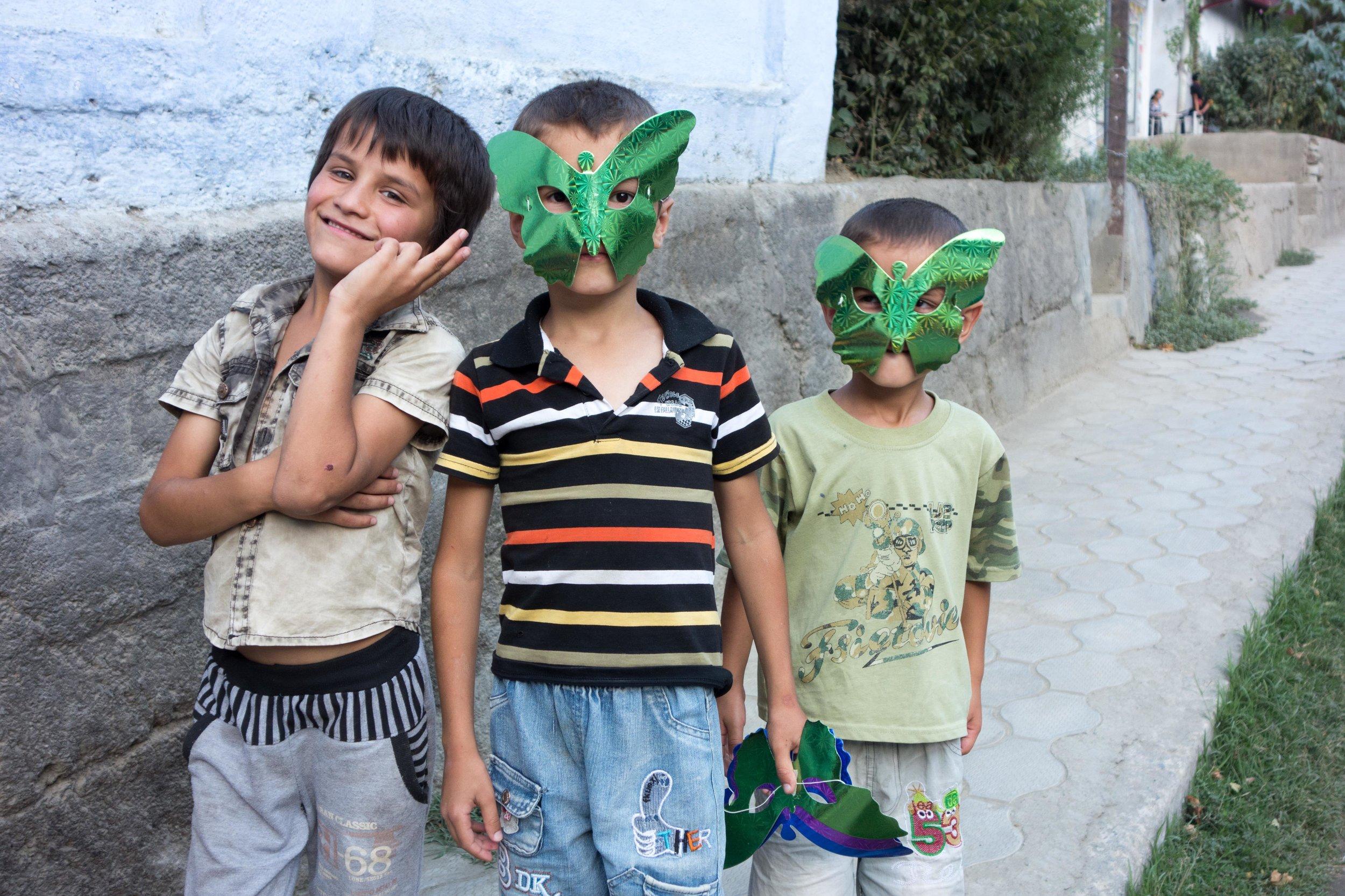 Boys along the  Pamir Highway, Tajikistan .