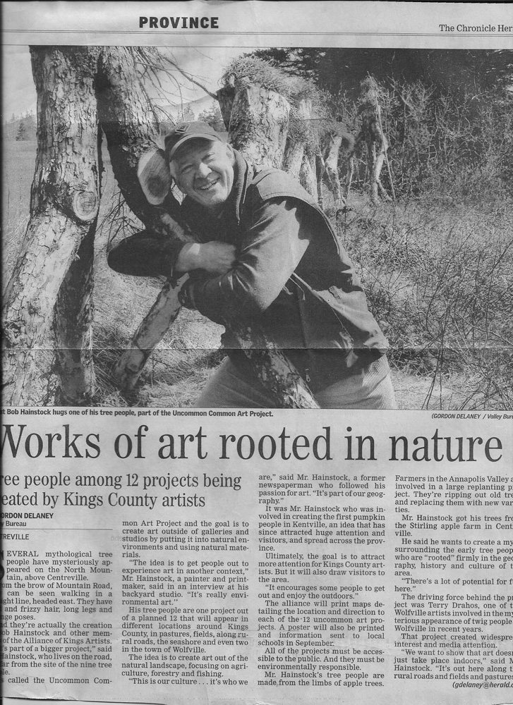 Bob's work in public art and environment art got the attention of the provincial newspaper.