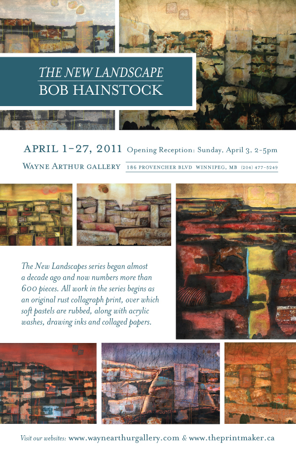 Wall poster for Bob's solo exhibition at Winnipeg's Wayne Arthur Gallery in Winnipeg's St. Boniface area.