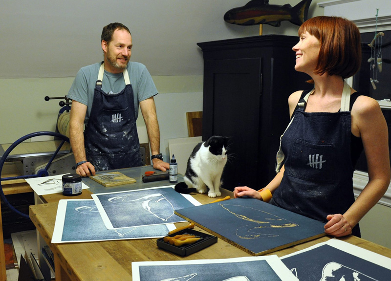 Meg and Stephen have just installed an intaglio press in their Winnipeg printmaking studio. Both are biologists by day, and printmakers by night and weekend, with several very successful joint exhibitions to their credit. The press was one of several presses originally built for Bob, by Kentville, machinist Glen Doherty at his Heritage Machining shop.