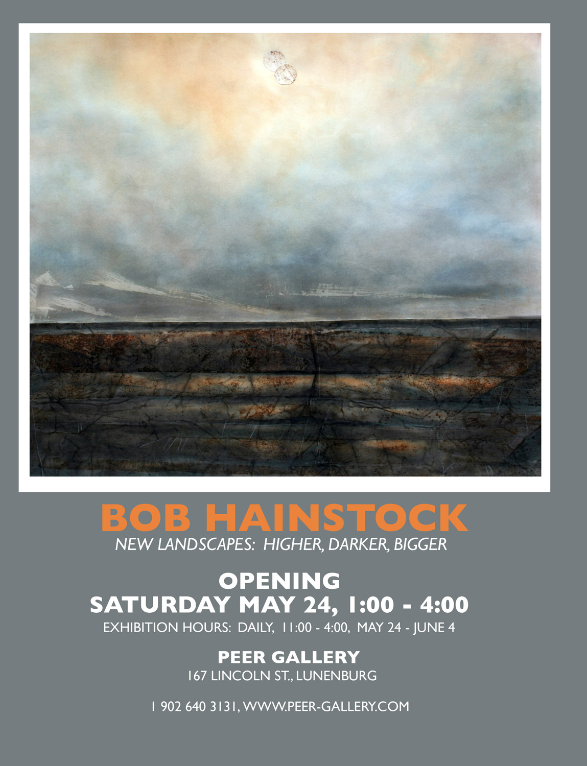 Wall poster for Bob's solo exhibition at Peer Gallery in Lunenburg.
