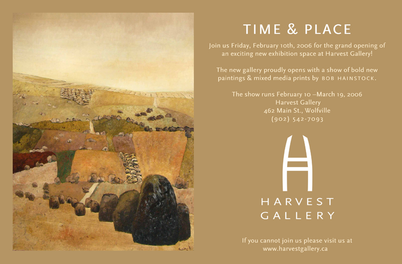 Wall poster for Bob's solo exhibition at Harvest Gallery in Wolfville, NS