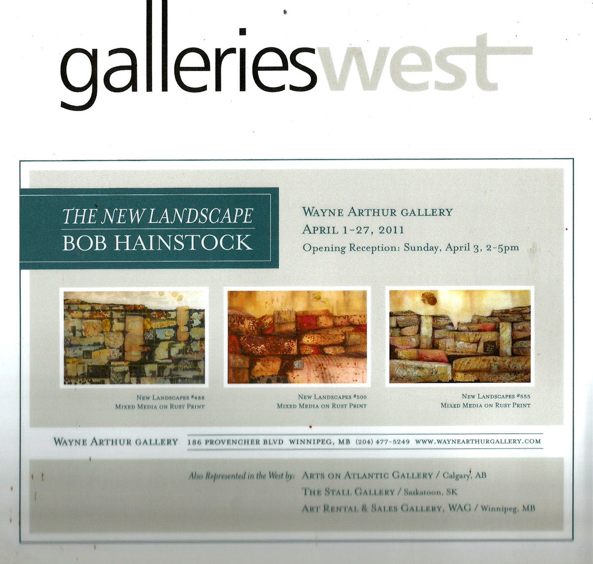 An ad in the Galleries West magazine noting details of Bob's new show in Winnipeg, as well as his representation in Calgary, Saskatoon and other Winnipeg galleries.