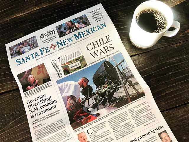 In Colorado, the governor said New Mexico chile is inferior to Pueblo chile. Here in Santa Fe, this made front page news today #chilewars #hatchchile #hatchisking #newmexicochile #greenchile #redchile #newmexicotrue