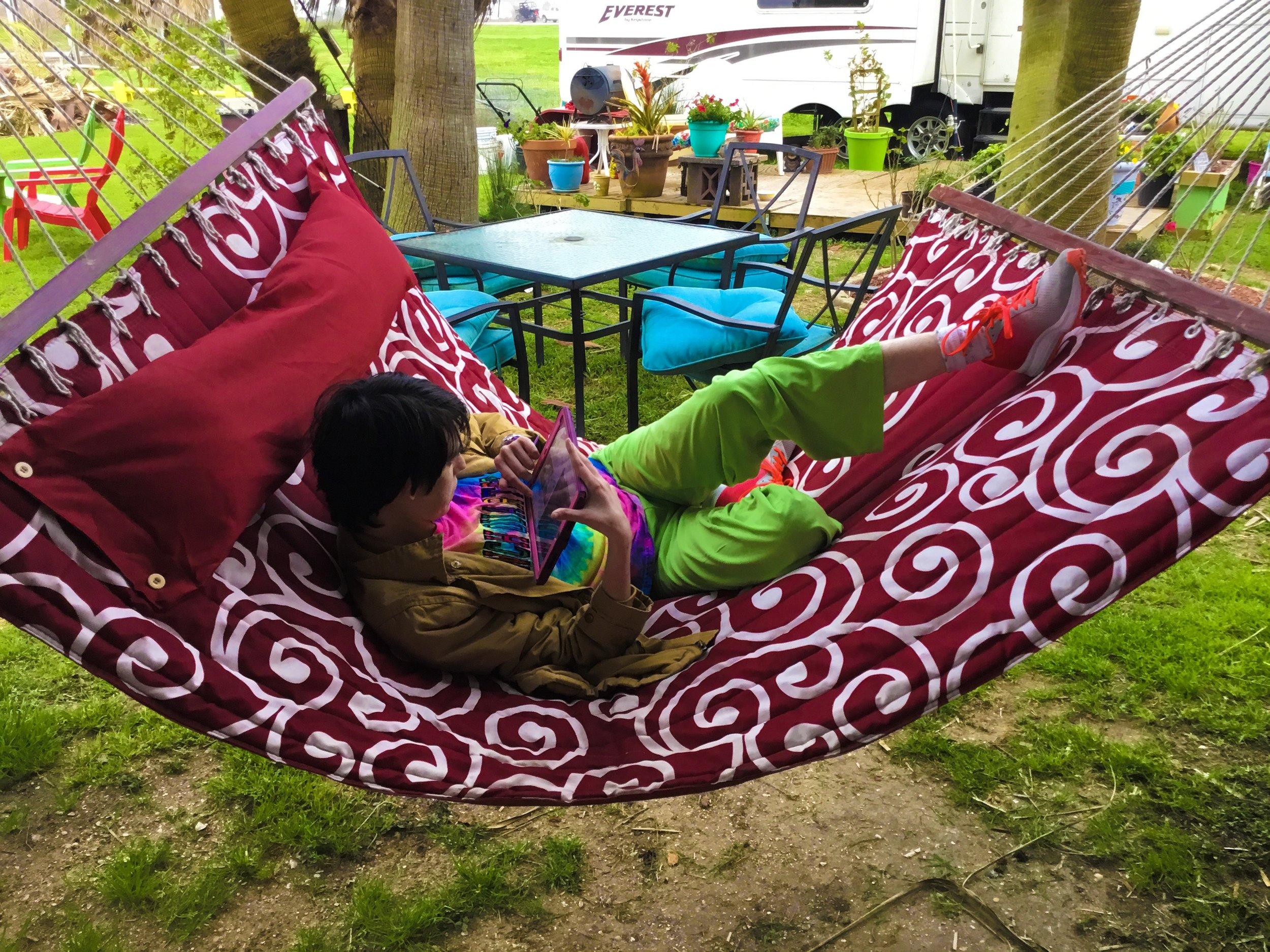 My kiddo enjoying one of the hammocks.