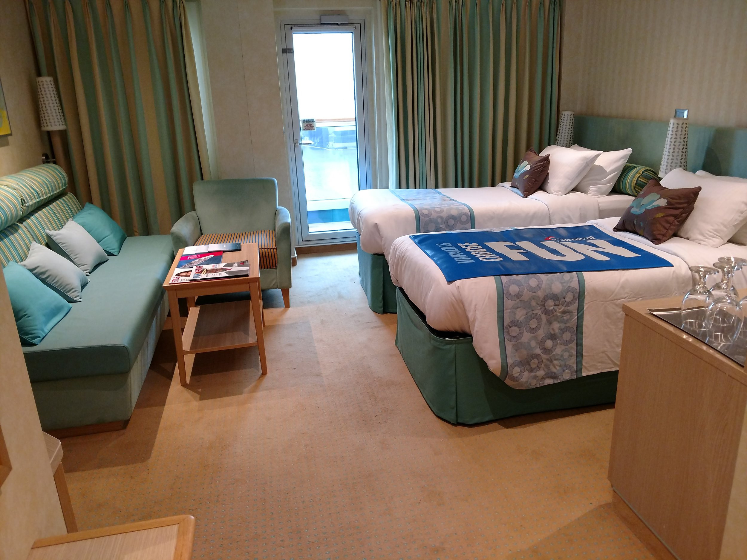 Balcony stateroom with two twin beds