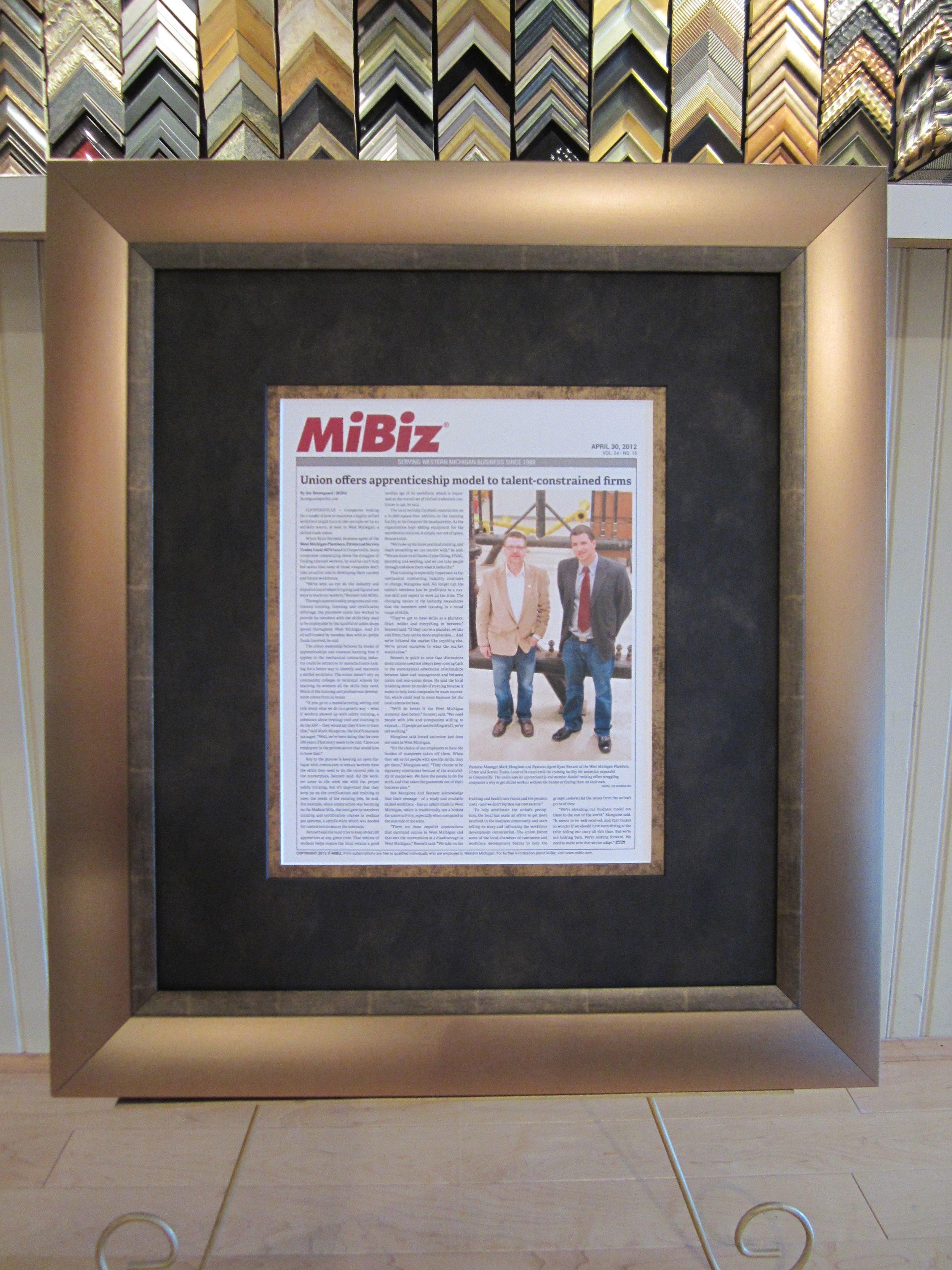 Custom Framed MiBiz Article