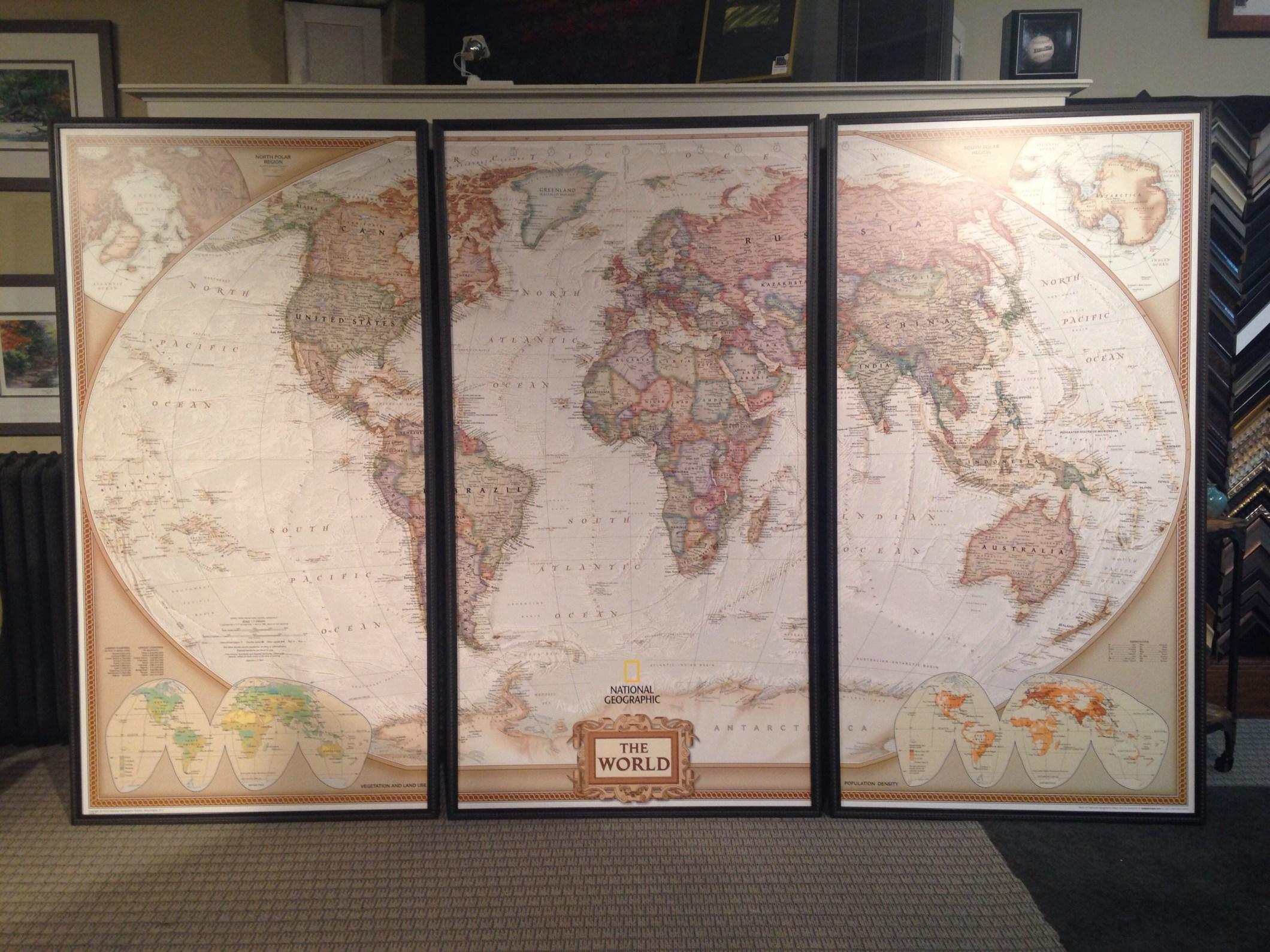 Custom Framed Oversized World Map