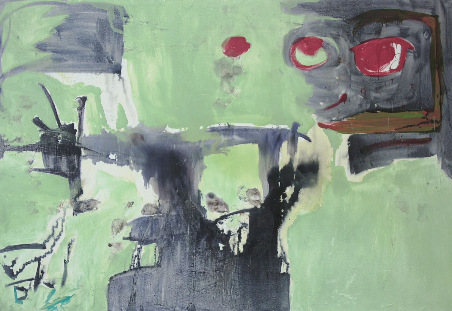 """Speaking (at night mostly) . Oil on canvas.    90"""" x 140"""". 2013."""