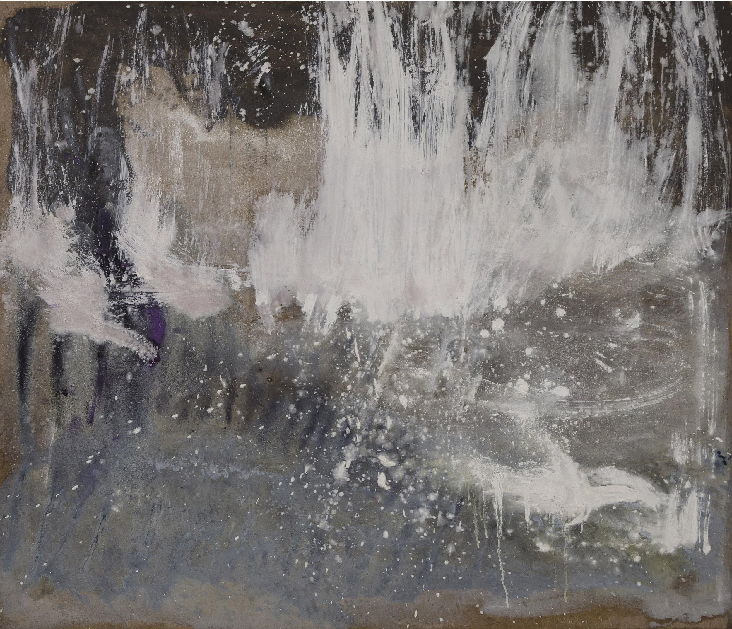 "Flake . Oil on linen.    52"" x 68"". 2015."