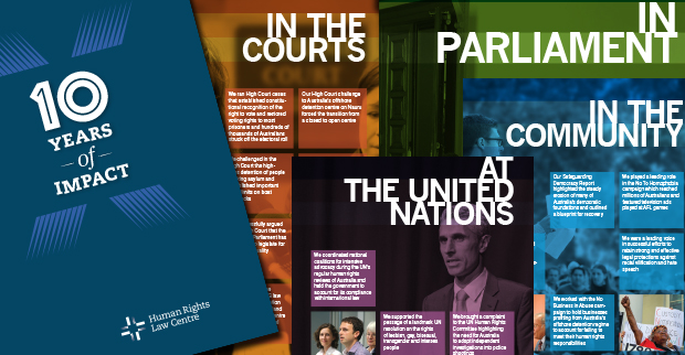 a preview of several of the pages from the 10 years of impact report