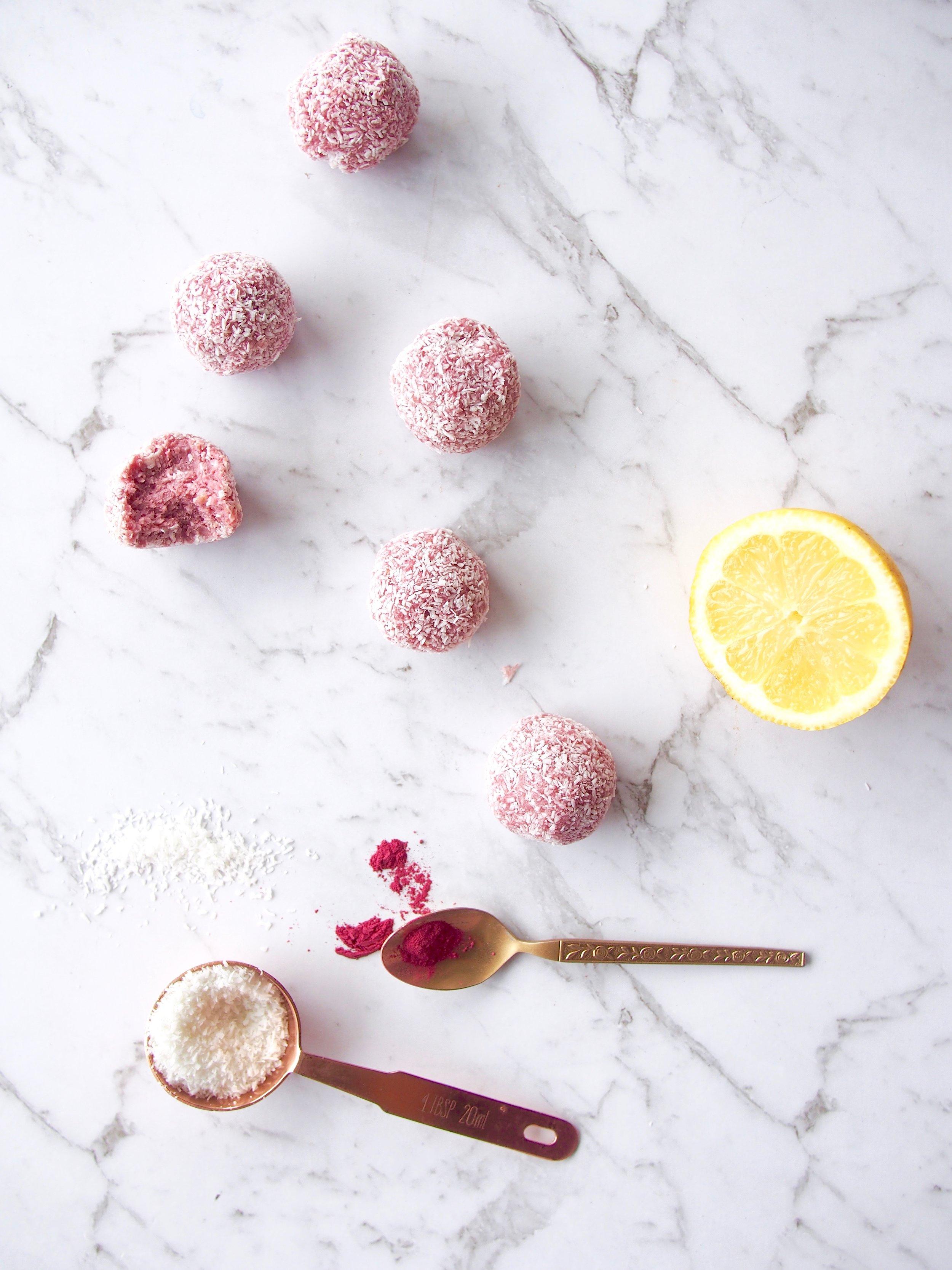 raspberry lemonade bliss balls