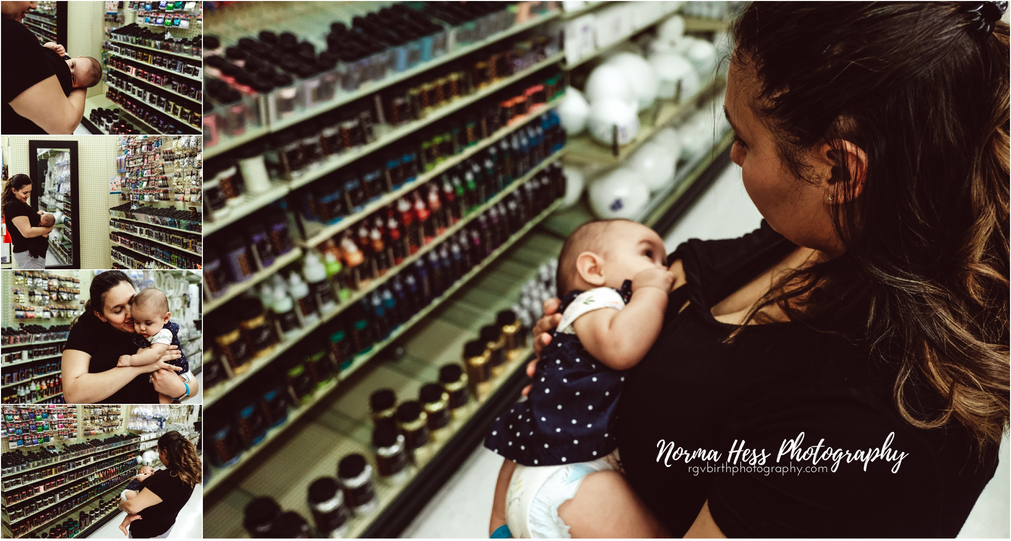 Visiting the craft store and breastfeeding on the go. rgvbirthphotography.com