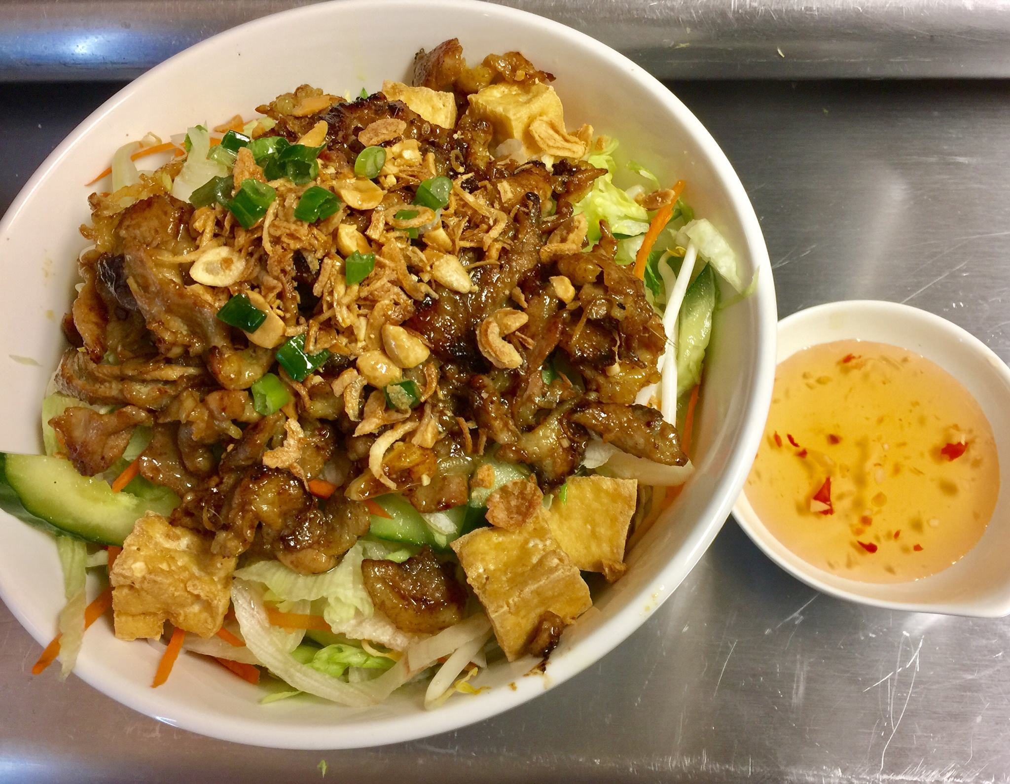 Noodle Sald bowl with Pork and Tofu