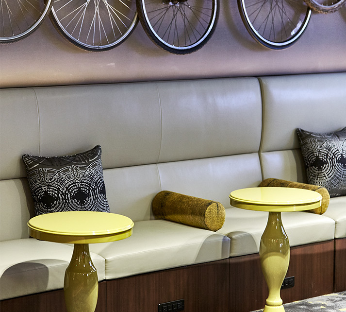 Luxury leather seating inside the playful and modern M Club.