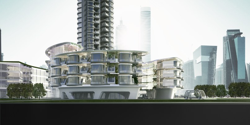 Rendering by Aprilli Design Studio that includes pods that transfer visitors to and from long-distance destinations.