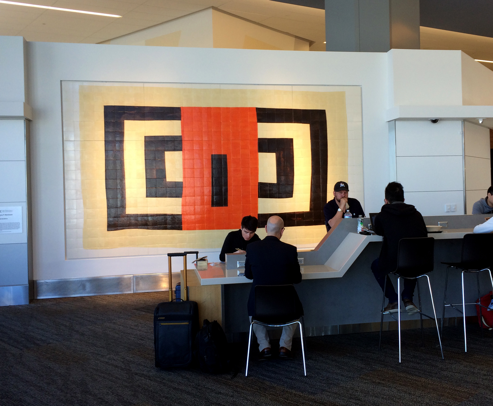 Louisisana Bendolph': New Generation,  (2015). Glazed ceramic tile, 9' x 16'. Commissioned by the San Francisco Arts Commission. Illuminates a lobby at the San Francisco International Airport.   See Full Story>