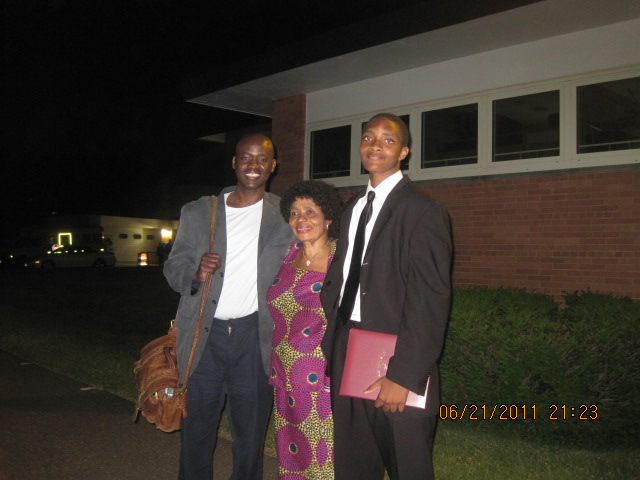 Queen Dorcas is sandwiched between me and Zeke after his junior high school graduation on June 21, 2011 in Valhalla, New York.