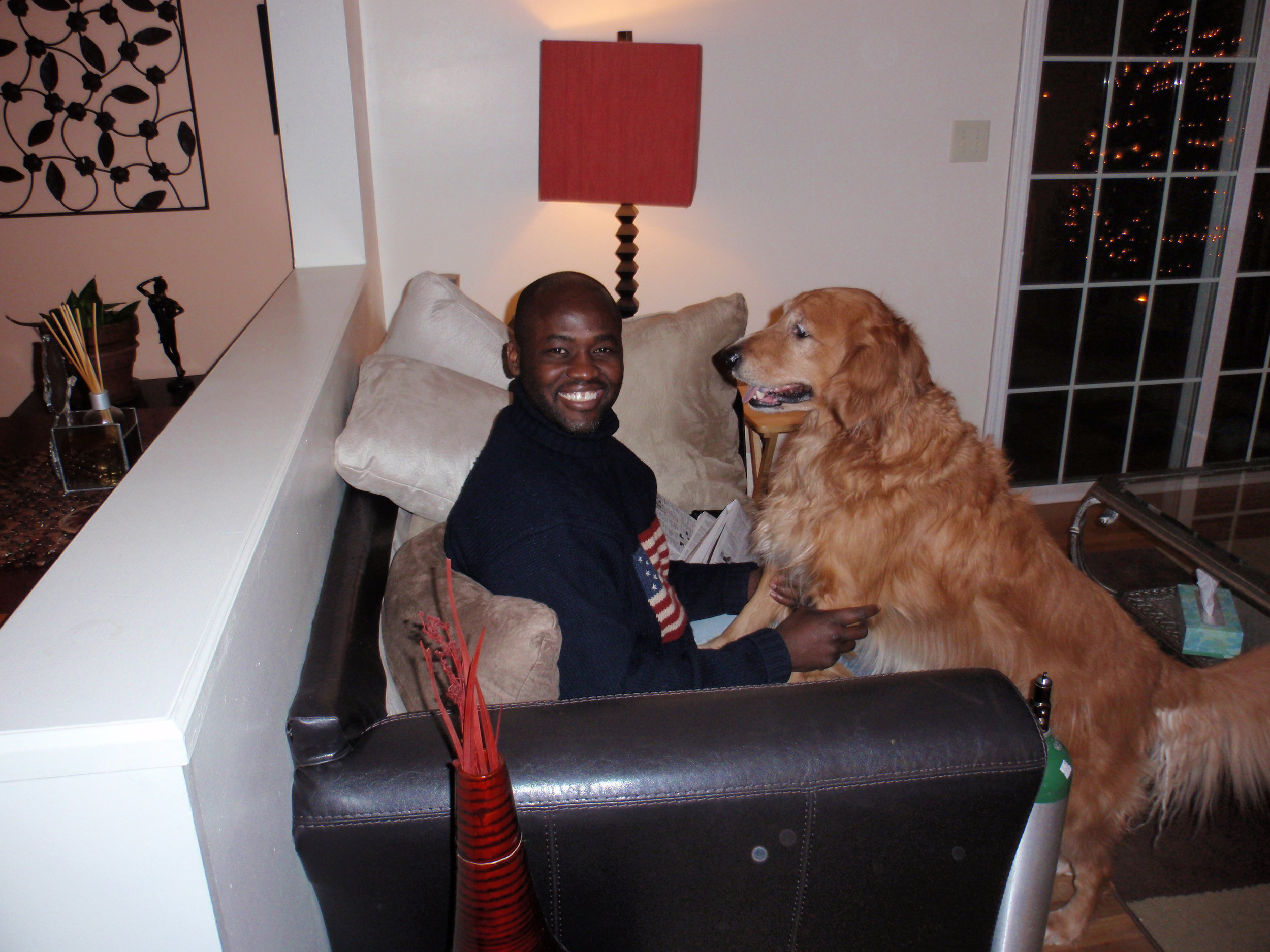 I'm having a man-to-dog conversation in September of 2011 with my favorite Golden Retriever, Odie. From 2011 to 2014, while working on my first book, I lived in my cousin, Kafui's  lovely home.