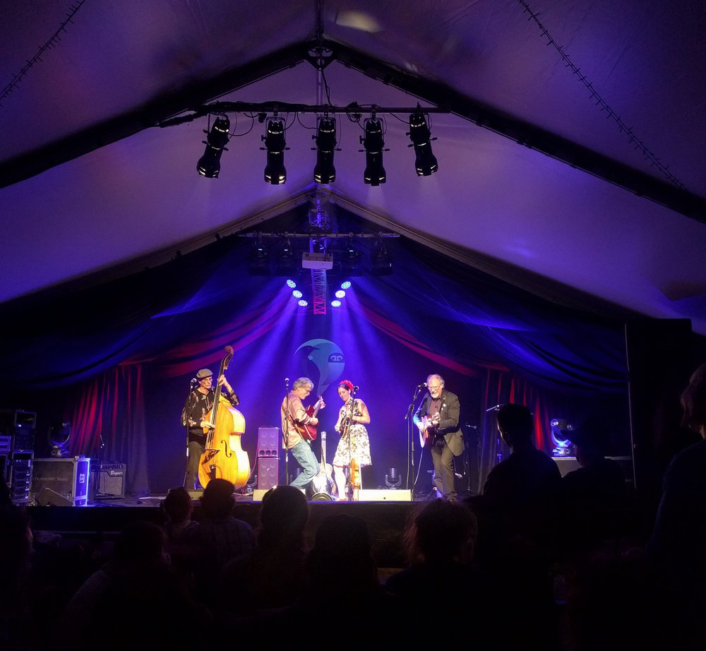 THE CHAPS - JOHN DODD, HYRAM BALLARD, ANNA BOWEN AND MIKE MORONEY. WHARE FLAT FOLK FESTIVAL 2/1/2018 FINAL CONCERT