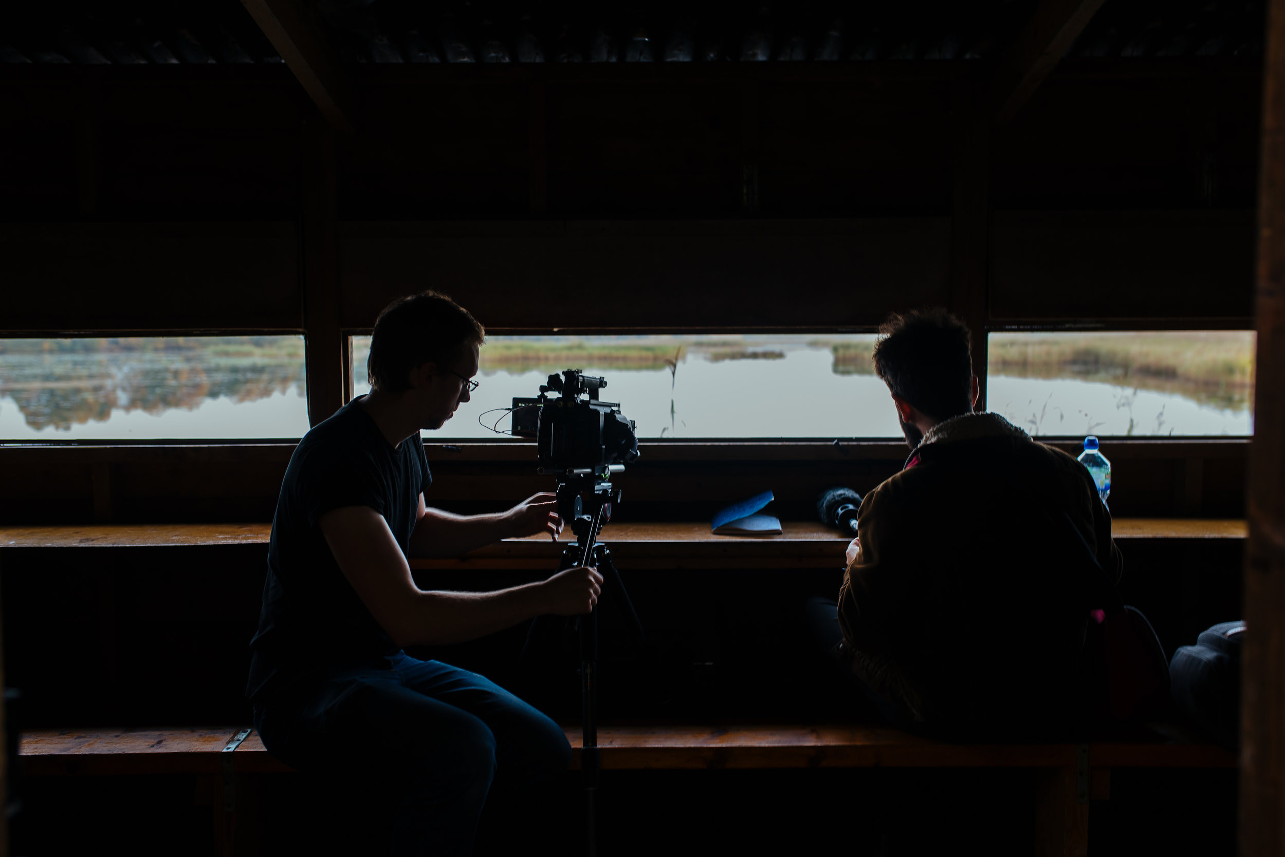 Jack Offord and Rowan Evans in the bird hide at Shapwick Heath. Photo by Maisie Newman
