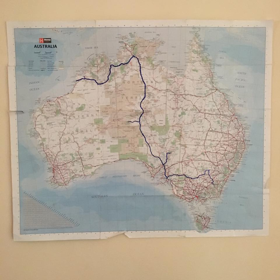Final project journey detailing route from Canberra, ACT to Broome, Western Australia - total kilometres travelled were 7,741 kilometres