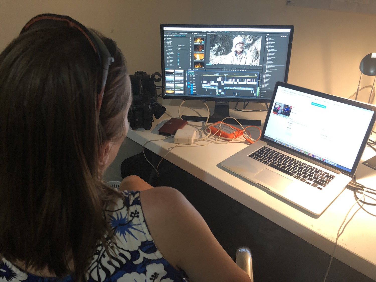 Magali working on the film edit using Adobe Premier