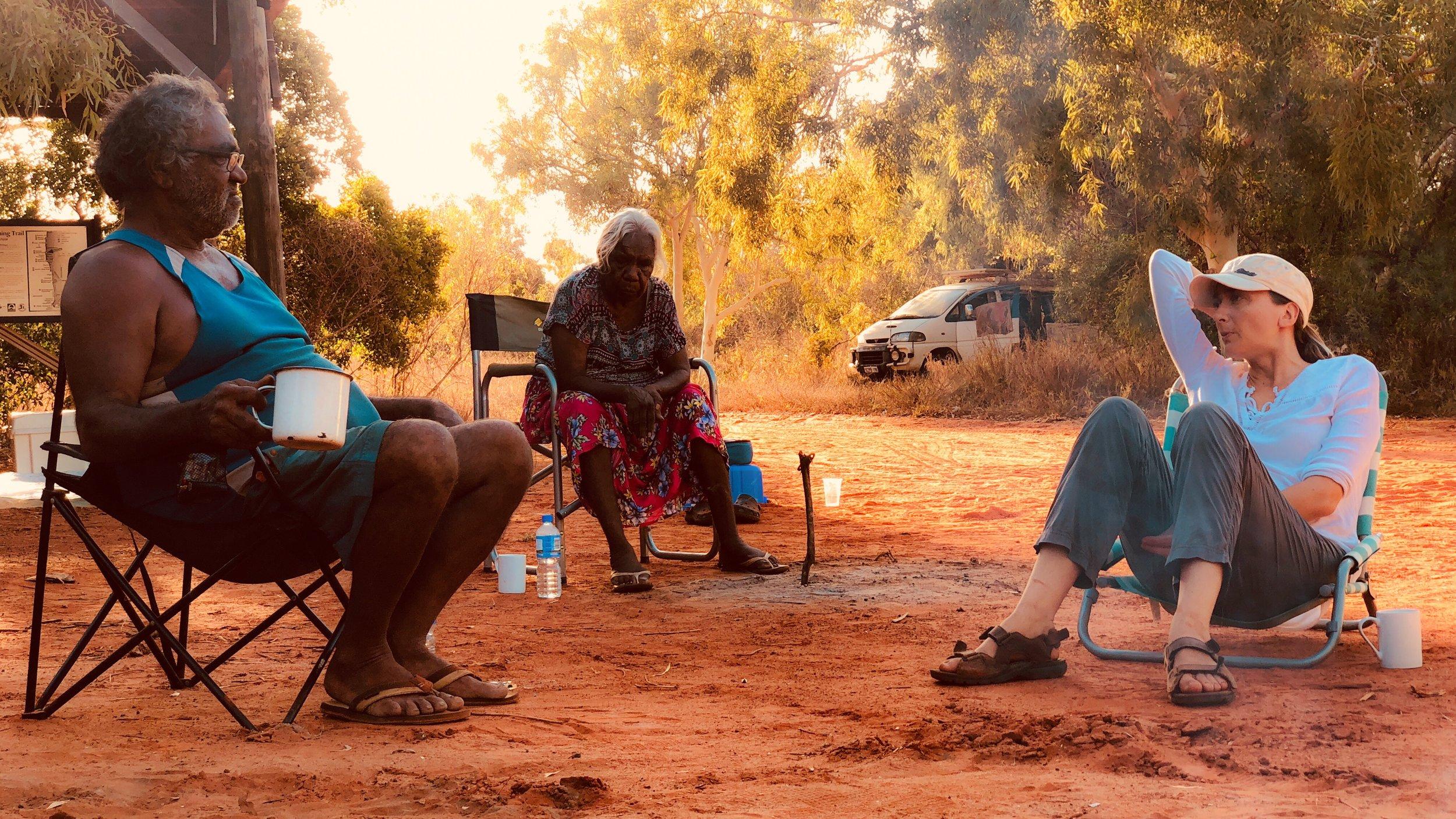 Photo: Alexander Hayes - (L) Phillip Roe, (C) Jeannie Wabi, (R) Magali McDuffie - Walmadan camp